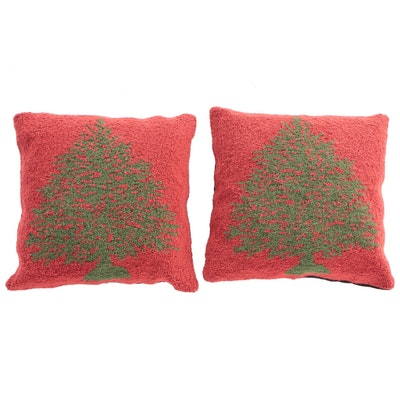 Grandin Road Hooked Wool Cotton Backed Christmas Tree Pillows