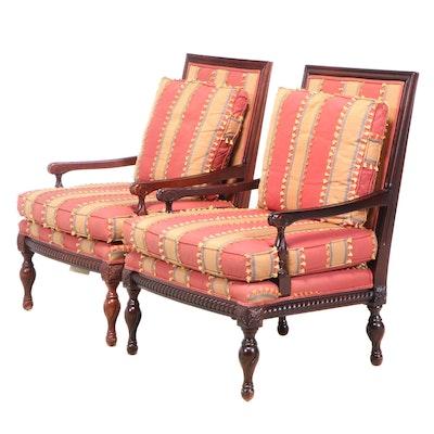 "Pair of Lane Venture ""Excursions"" Custom-Upholstered Hardwood Armchairs"