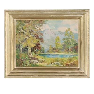 Stephen Geitz Landscape Oil Painting of Mountain Lake, 1942