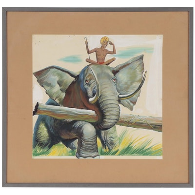 Paul Pinson Gouache Painting, Mid-20th Century