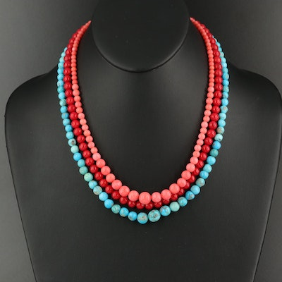 Graduated Turquoise and Coral Necklaces with Sterling Clasps