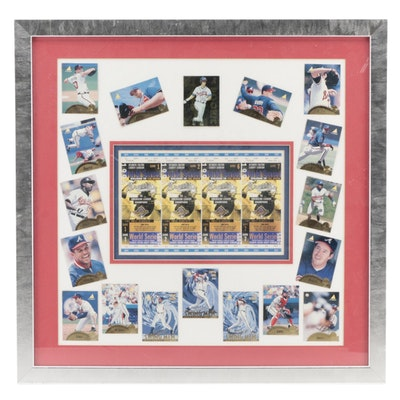 1995 MLB World Series Framed Tickets and Atlanta Braves Baseball Cards