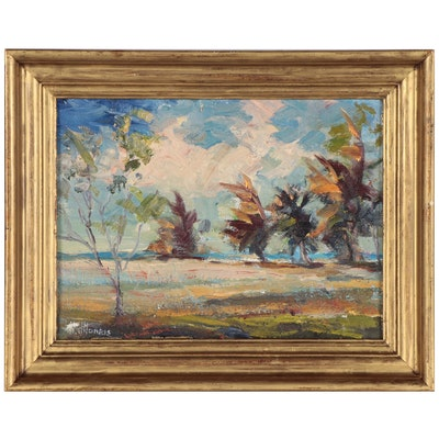 "Landscape Oil Painting ""Tropical Cove at Sanibel,"" 1972"