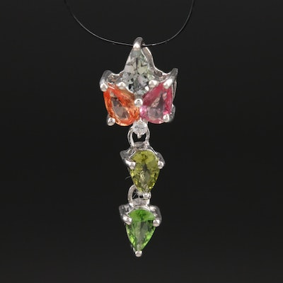 Sterling Pendant Including Tourmaline, Sapphire and Zircon