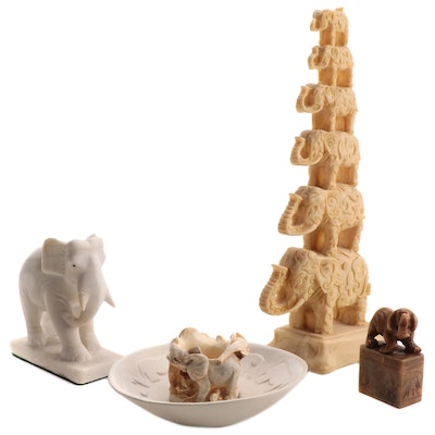 Carved Soapstone and Resin Elephant Figurines, Bowl and Seal Stamp
