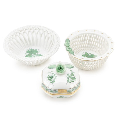"""Herend """"Chinese Bouquet Green"""" Porcelain Box and Open Weave Bowls"""
