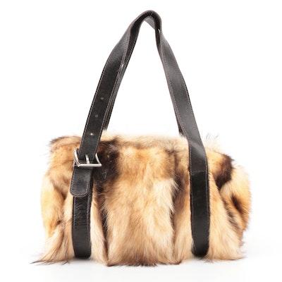 Elena Girardi Boston Bag in Fitch Fur and Dark Brown Leather