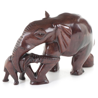 Hand-Carved Wood Elephant Mother and Calf Figurine, Late 20th Century