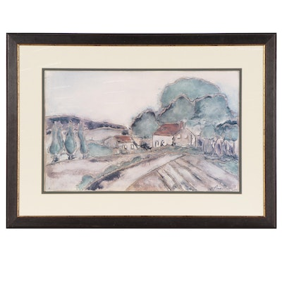 Landscape Offset Lithograph, Late 20th Century