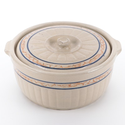 Red Wing Sponge Band Stoneware Casserole with Lid, Early 20th Century