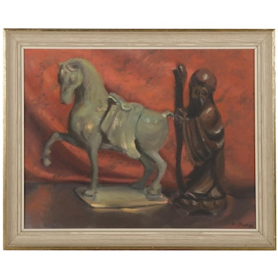 E. J. Pinking Still Life Oil Painting of Chinese Sculptures, Circa 2002
