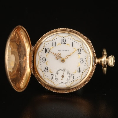 1903 Waltham 14K Multicolored Gold Ornate Hunting Case Pocket Watch