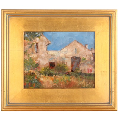 """Susan Helbling Oil Painting """"French Ruin,"""" 21st Century"""