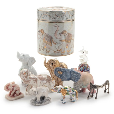 Lladró Porcelain Elephant, Glass Bell, Marble and Ceramic Figurines and More