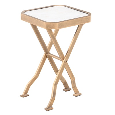 """Vanguard Furniture """"Marion"""" Brass Folding Side Table with Agaria Marble Top"""