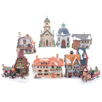 Department 56 Heritage Village Porcelain Houses and Figurines, Late 20th Century