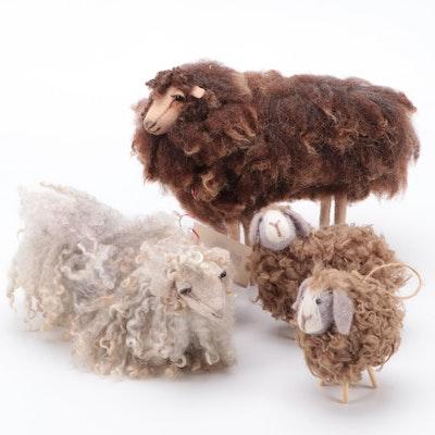 Handmade in Maine Fleece Sheep Figurines
