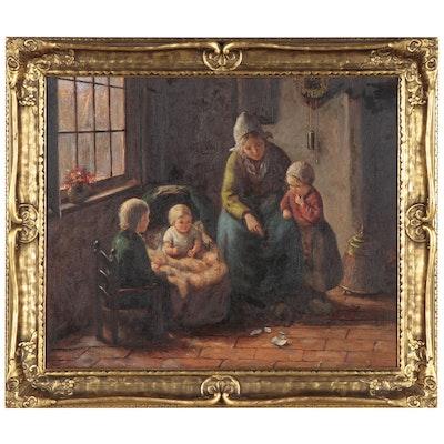 Nicolas Lenz Genre Scene Oil Painting, Late 20th Century