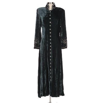Double D Ranchwear Blue Velveteen Duster Dress with Studded Nehru Collar