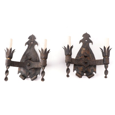Pair of Spanish Revival Style Iron Torch Electric Wall Sconces