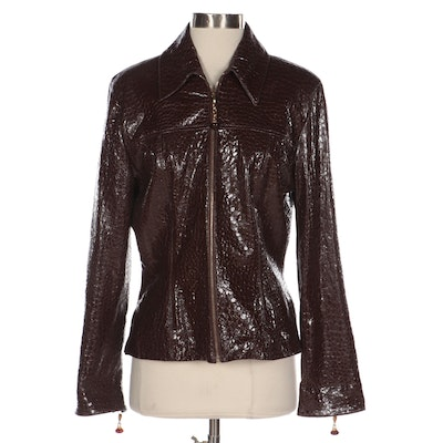 St. John Collection Zip Jacket in Alligator Embossed Brown Patent Leather