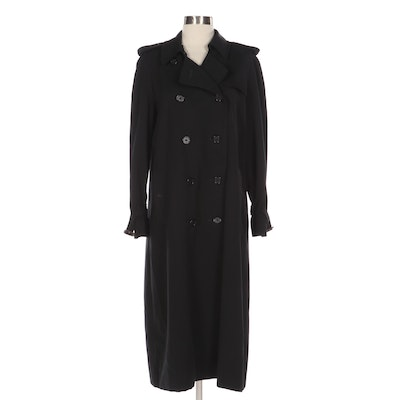 Burberrys Double-Breasted Trench Coat in Black Burella Wool