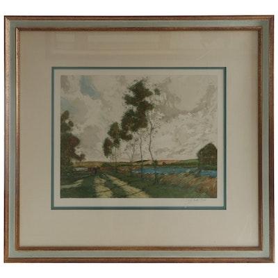 Paul Emile Lecomte Landscape Color Etching, Mid-20th Century