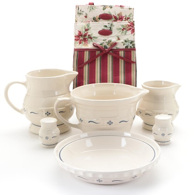 Longaberger Woven Traditions Ceramic Bakeware, Shakers, Pitchers and Tote Bags