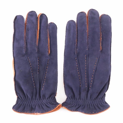 Fratelli Orsini Two-Tone Nubuck and Leather Winter Gloves with Cashmere Lining