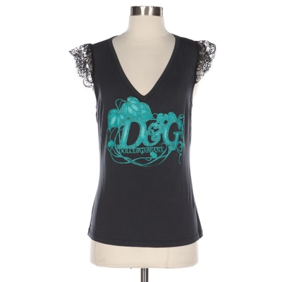 D&G Dolce & Gabbana Sleeveless Logo Top with Lace Trim