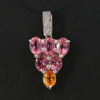 Sterling Silver Sapphire, Garnet and Zircon Cluster Pendant