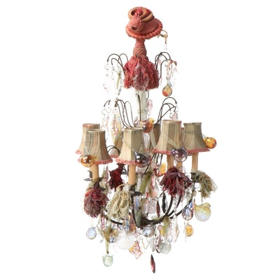 Figural Art Glass and Metal 9-Light Chandelier