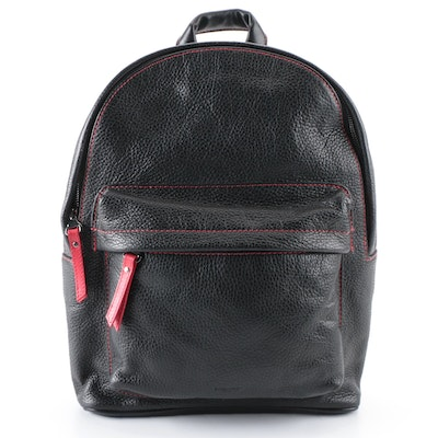 Borlino Cortina Backpack in Black Calfskin Leather with Lava Red Accents