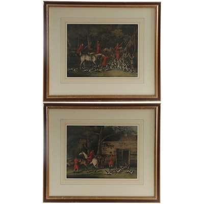 Hand-Colored Etchings of Hunting Scenes, Late 19th Century