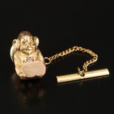 """Vintage 10K """"Good Luck"""" Billiken Tie Tack with Diamond and Ruby Accents"""