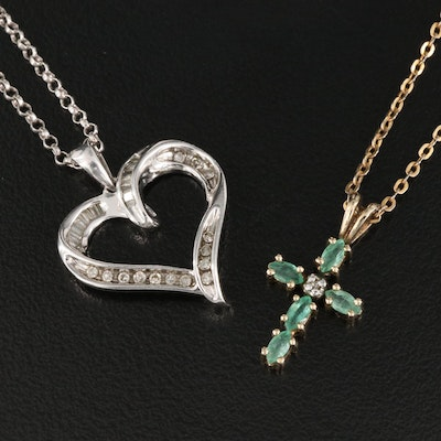 Sterling Silver Diamond Heart and Emerald Cross Pendant Necklaces