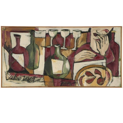 Doug Fiely Cubist Style Still Life Oil Painting, Circa 2000