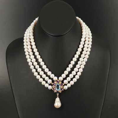 Sterling Sky Blue Topaz and Amethyst Drop on Triple Strand Pearl Necklace