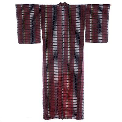 Meisen Silk Kimono with Basting Threads, Shōwa Period