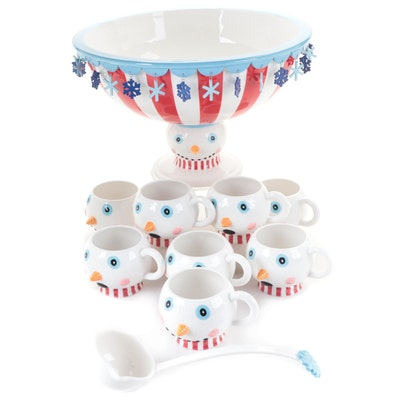 Department 56 Ceramic Footed Snowman Punch Bowl and Mugs