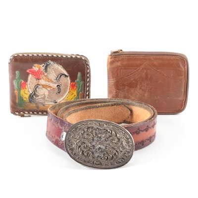 Tooled Leather Wallets and Belt with Sterling Silver Buckle