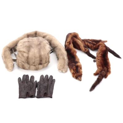 Grey Mink Fur Collar and Muff, Mink Pelt Stole, and Leather Driving Gloves