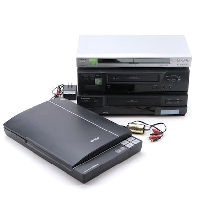 Mitsubishi VHS Players, Sony CD/DVD Player and Epson Perfection Scanner