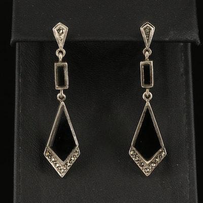 Sterling Black Onyx and Marcasite Kite Drop Earrings