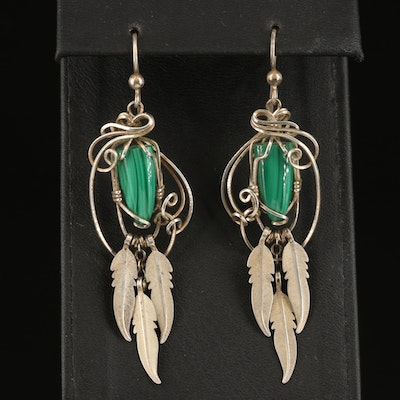 Sterling Malachite Drop Earrings with Feather Drops