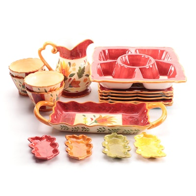 """222 Fifth """"Folklorica Red"""" Ceramic Dinner and Serveware"""