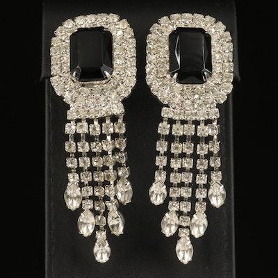 Vintage Rhinestone Fringe Earrings