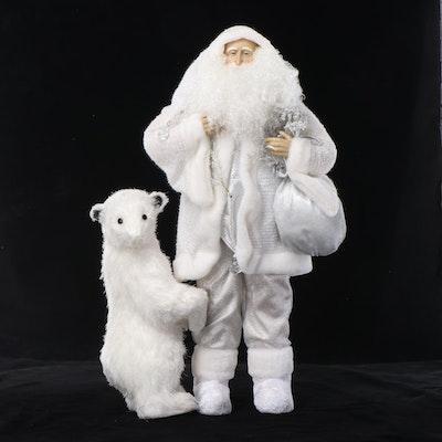 Santa Claus and Polar Bear Form Christmas Decorations