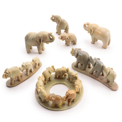 Carved Soapstone Elephant Figurines