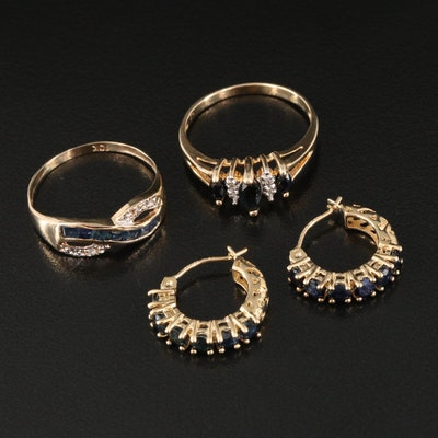 10K Sapphire and Diamond Rings and 14K Sapphire Earrings